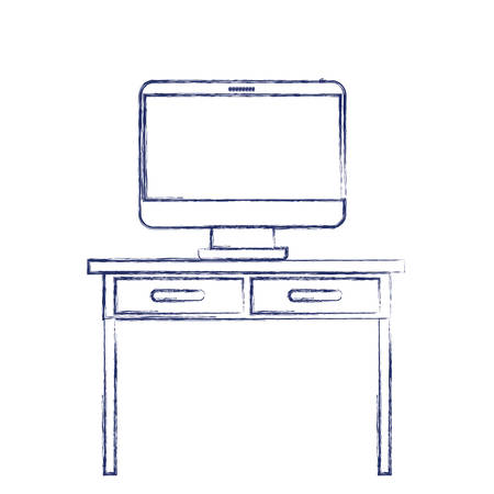 desk table with drawers and desktop computer above in front view in dark blue blurred silhouette vector illustration Illustration