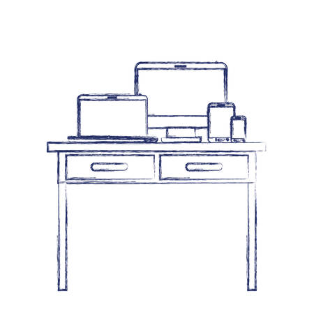 desk table with drawers front view with tech devices above in dark blue blurred silhouette vector illustration