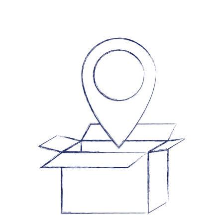 ダークブルーのぼやけたシルエットベクトルイラストの上に地図ポインタ付きの段ボール箱を開きました  イラスト・ベクター素材