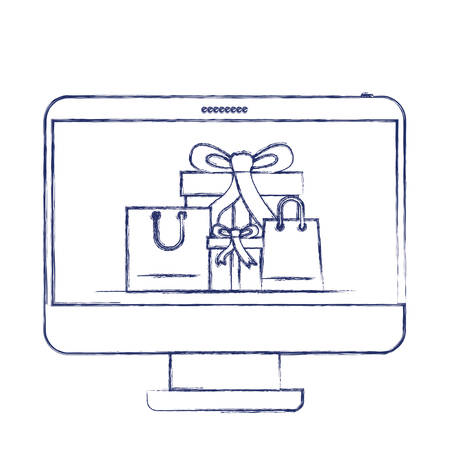 desktop computer front view with gift boxes and shopping bags in screen in dark blue blurred silhouette vector illustration