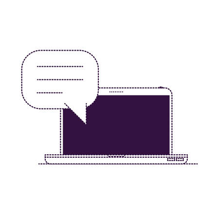 laptop computer front view with speech dialogue in purple dotted silhouette vector illustration