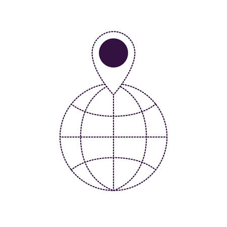 world globe and map pointer on top in purple dotted silhouette vector illustration Çizim