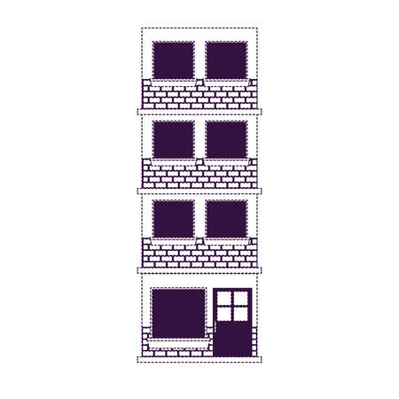 A building facade of four floors in purple dotted silhouette vector illustration