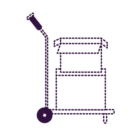 hand truck with cardboard boxes stacked and one opened in purple dotted silhouette vector illustration