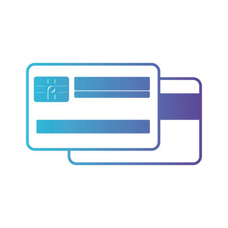 credit card both sides in degraded blue to purple color contour vector illustration