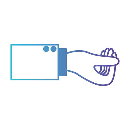 A business hand side view showing gesture vector illustration