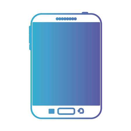 Tablet tech device front view icon in degraded blue to purple color contour vector illustration Ilustração