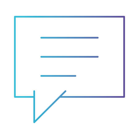 square dialogue speech with tail in degraded blue to purple color contour vector illustration