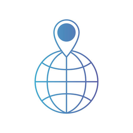 world globe and map pointer on top in degraded blue to purple color contour vector illustration Vectores