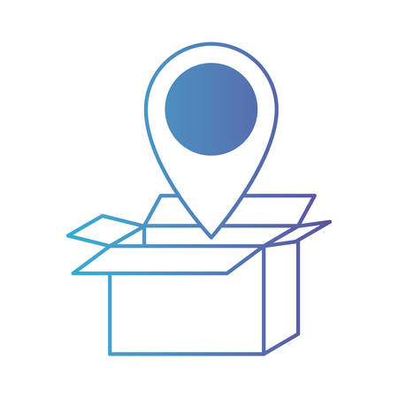 opened cardboard box with map pointer on top in degraded blue to purple color contour vector illustration