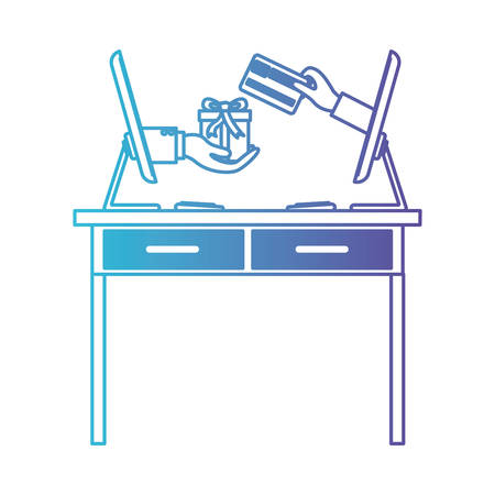 desk table with drawers front view and desktop computer with gift purchase online in degraded blue to purple color contour vector illustration