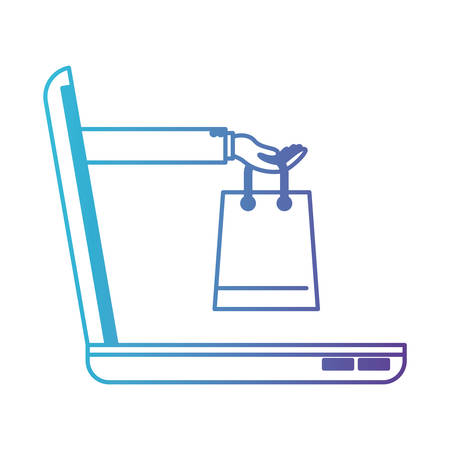 Laptop computer and hand holding shopping bag of purchase online in degraded blue to purple color contour vector illustration Ilustração