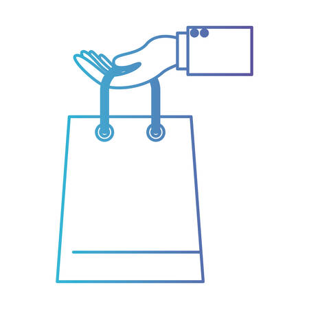 Hand holding a trapezoid shopping bag in degraded blue to purple color contour vector illustration Illustration