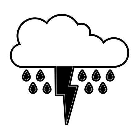 Cloud with rain and thunderbolt in black silhouette vector illustration