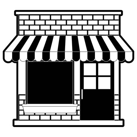 Store facade with sunshade in black silhouette, vector illustration. Ilustrace