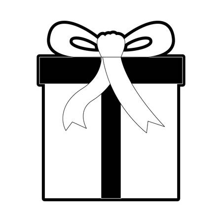Gift box icon with decorative ribbon in black silhouette, vector illustration.