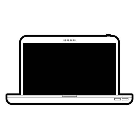 Laptop computer front view in black silhouette vector illustration