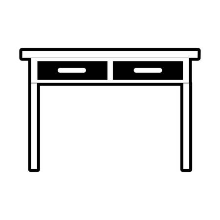 Desk table with drawers front view in black silhouette vector illustration