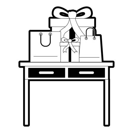 Desk table with drawers front view with gifts box and bags above in black silhouette vector illustration