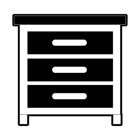 Chest of drawers front view in black silhouette, vector illustration.