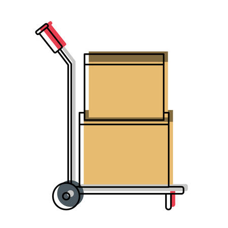 A hand truck with cardboard boxes stacked and sealed in watercolor silhouette vector illustration