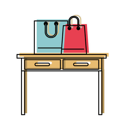 desk table with drawers front view with shopping bags above in watercolor silhouette vector illustration Иллюстрация