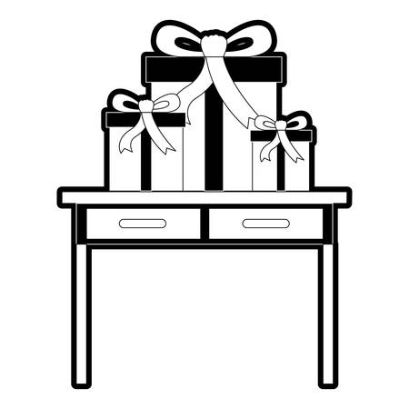 Table with drawers front view with gifts boxes in black silhouette vector illustration