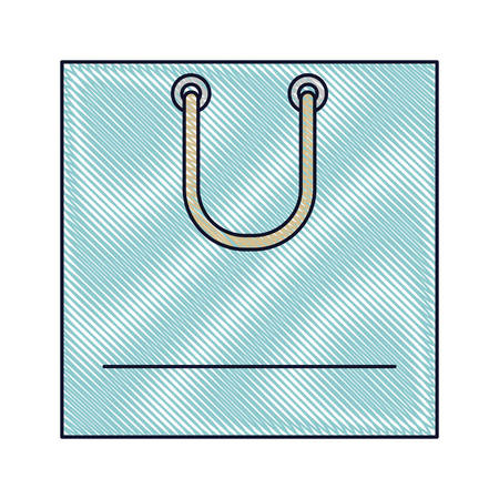 Square shopping bag icon with handle in colored silhouette vector illustration