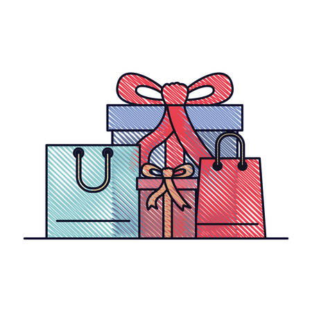 Gift boxes and shopping bags in colored crayon silhouette vector illustration