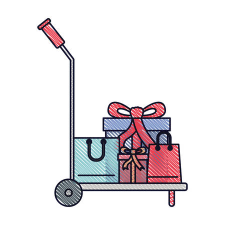 hand truck with gift boxes and shopping bags in colored crayon silhouette vector illustration