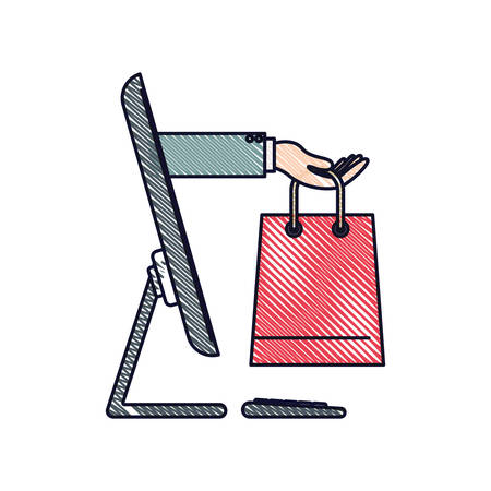 Desktop computer and hand holding shopping bag of purchase online in colored crayon silhouette vector illustration Ilustração