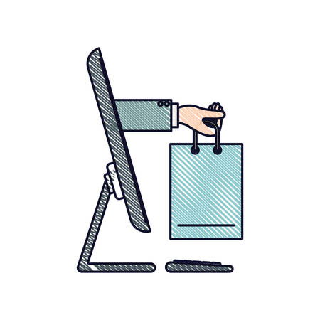 Desktop computer and hand holding shopping bag of purchase online in colored crayon silhouette vector illustration Illustration