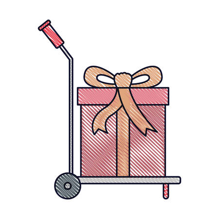 Hand truck with big gift box in colored crayon silhouette vector illustration