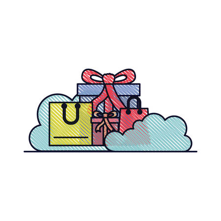 Gifts and shopping bags with clouds around in colored crayon silhouette vector illustration