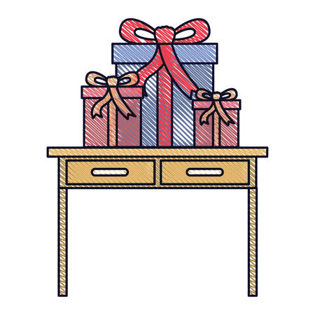 desk table with drawers front view with gifts boxes in colored crayon silhouette vector illustration