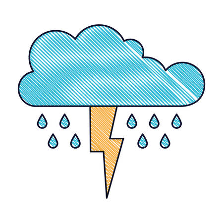 Cloud with rain and thunderbolt in colored crayon silhouette vector illustration