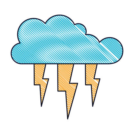 cloud with lightnings in colored crayon silhouette vector illustration