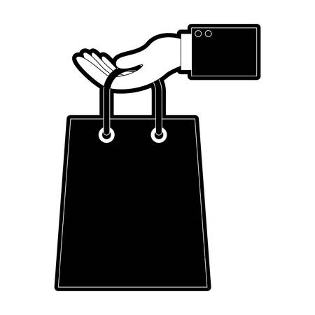 Hand holding a trapezoid shopping bag in black silhouette vector illustration Illustration