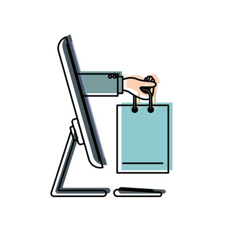 Desktop computer and hand holding shopping bag of purchase online in watercolor silhouette vector illustration