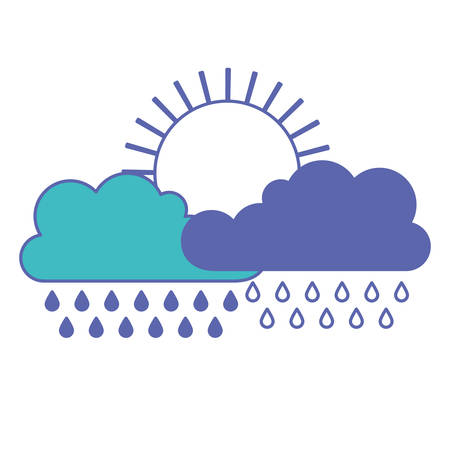 sun and cloud with rain in blue and purple color sections silhouette vector illustration