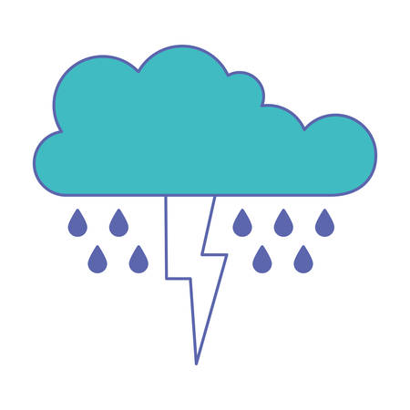 cloud with rain and thunderbolt in blue and purple color sections silhouette vector illustration Illustration