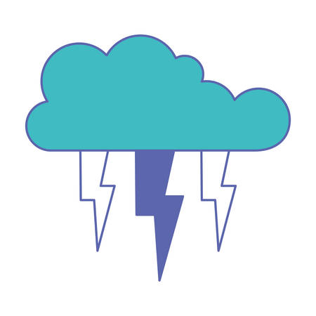 cloud with lightnings in blue and purple color sections silhouette vector illustration