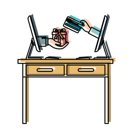 desk table with drawers front view and desktop computer with gift purchase online in watercolor silhouette vector illustration Illustration