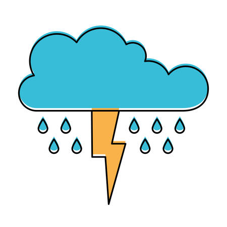 cloud with rain and thunderbolt in watercolor silhouette vector illustration