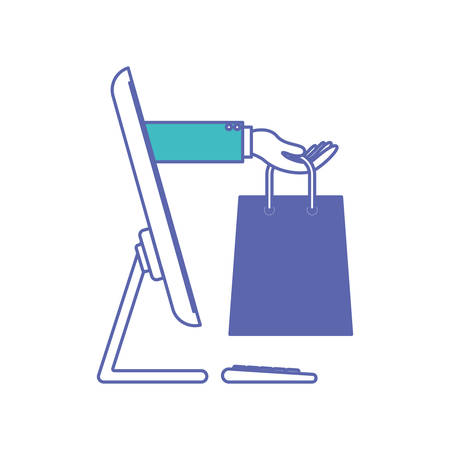 desktop computer and hand holding shopping bag of purchase online in blue and purple color sections silhouette vector illustration