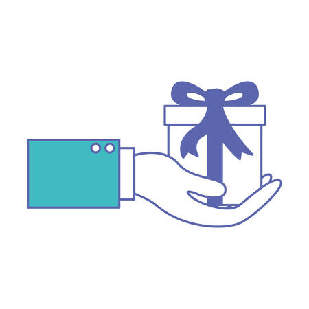 hand holding a gift box in blue and purple color sections silhouette vector illustration Vectores