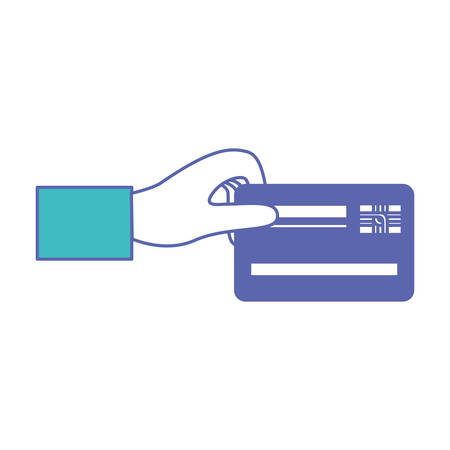 hand holding a credit card in blue and purple color sections silhouette vector illustration