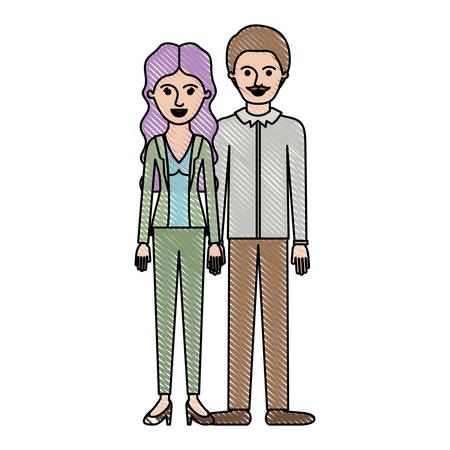 Couple in colored crayon silhouette and her with blouse and jacket and pants and heel shoes with wavy long hair and him with shirt and pants and shoes with short hair and moustache vector illustration Illustration