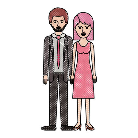 Couple in colored crayon design, man with suit and tie and pants and shoes with short hair and stubble beard and girl with dress and heel shoes with mid length hair  illustration.