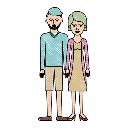Couple in colored crayon silhouette and him with t-shirt long sleeve and short pants and shoes with high fade haircut and stubble beard and her with blouse and jacket and skirt and heel shoes with short hair vector illustration. Illustration